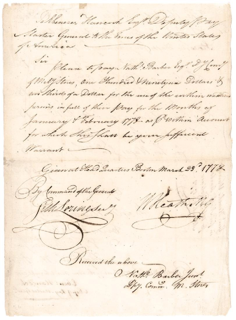 WILLIAM HEATH Signed Revolutionary War Document