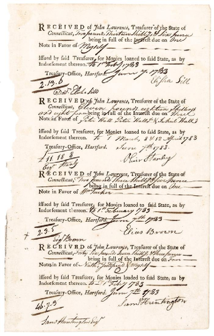 SAMUEL HUNTINGTON Signed 1782 Rev. War Pay Note