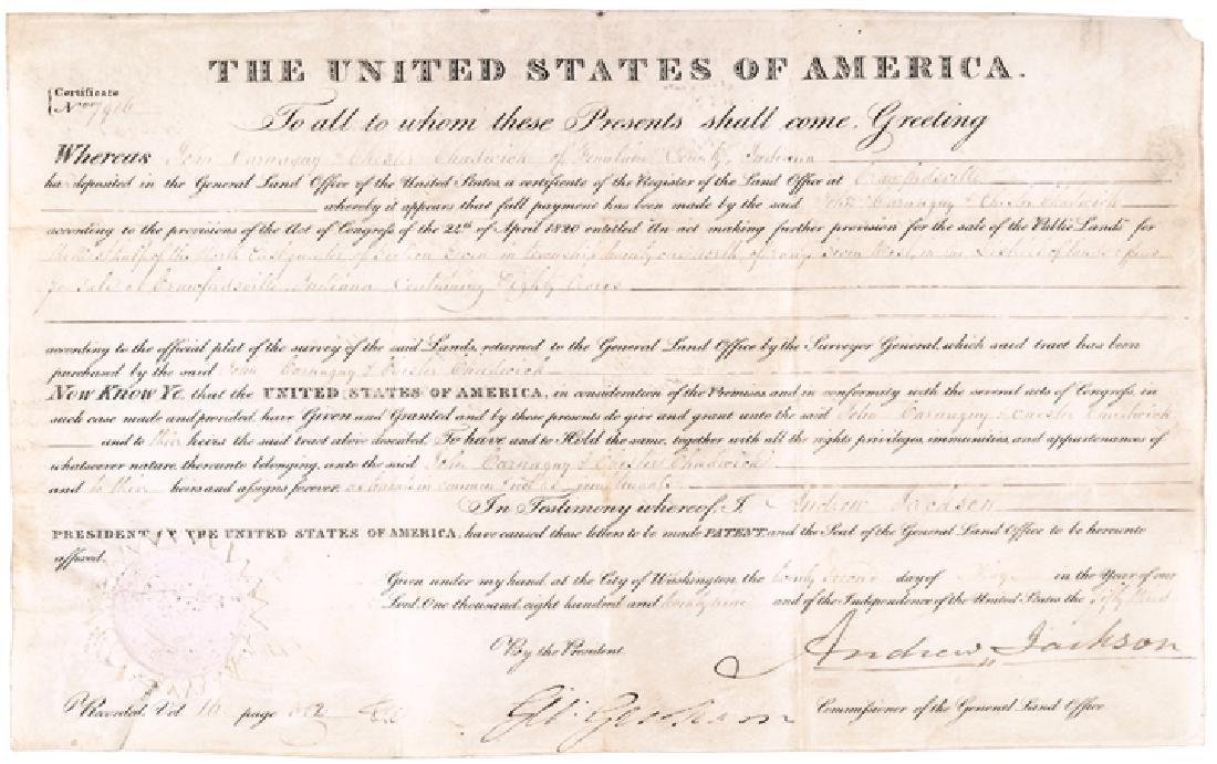 1829 President Andrew Jackson Signed Land Grant