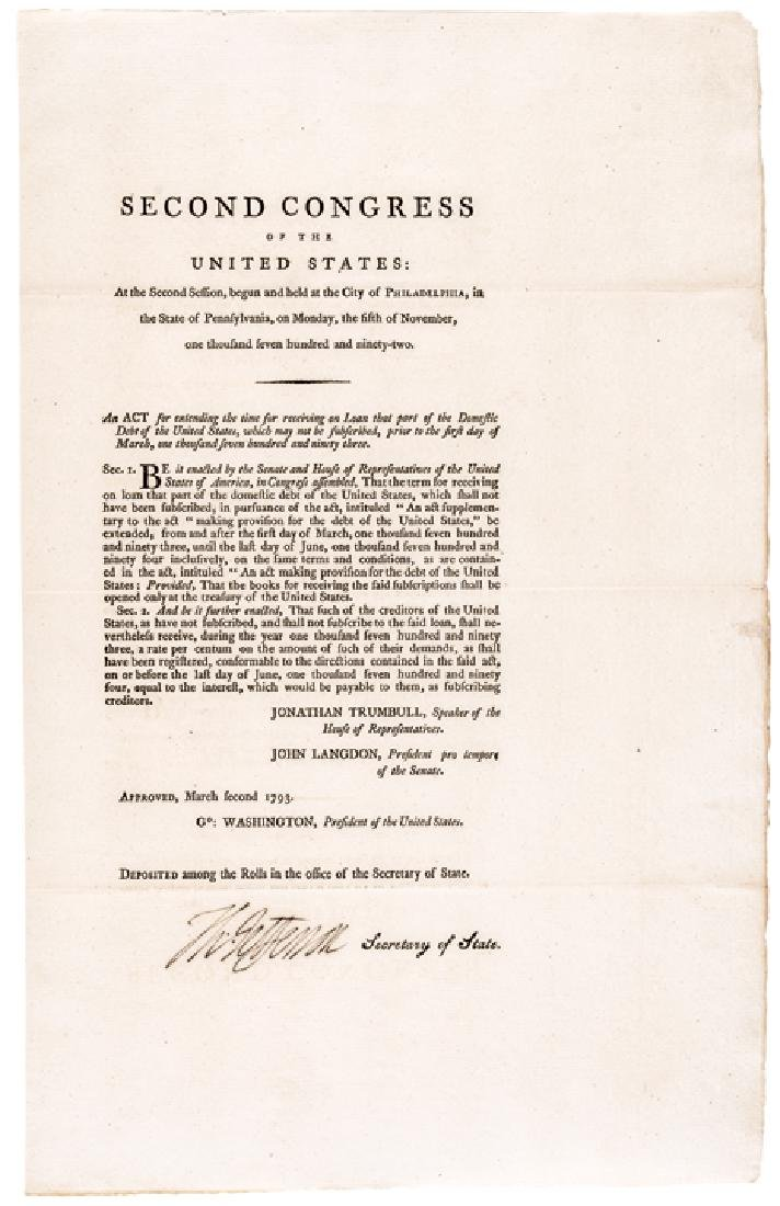 1792 THOMAS JEFFERSON Signed ACT for U.S. DEBT !