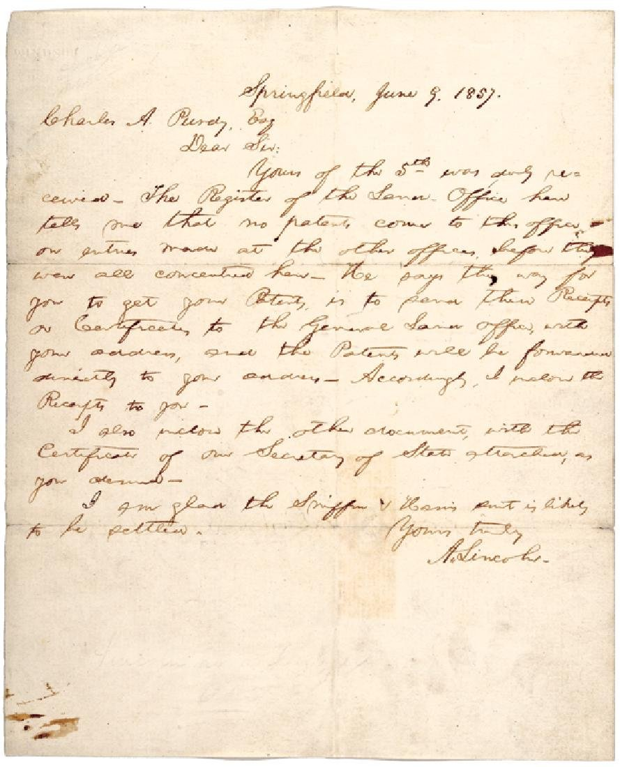 1857 ABRAHAM LINCOLN, Autograph Letter Signed