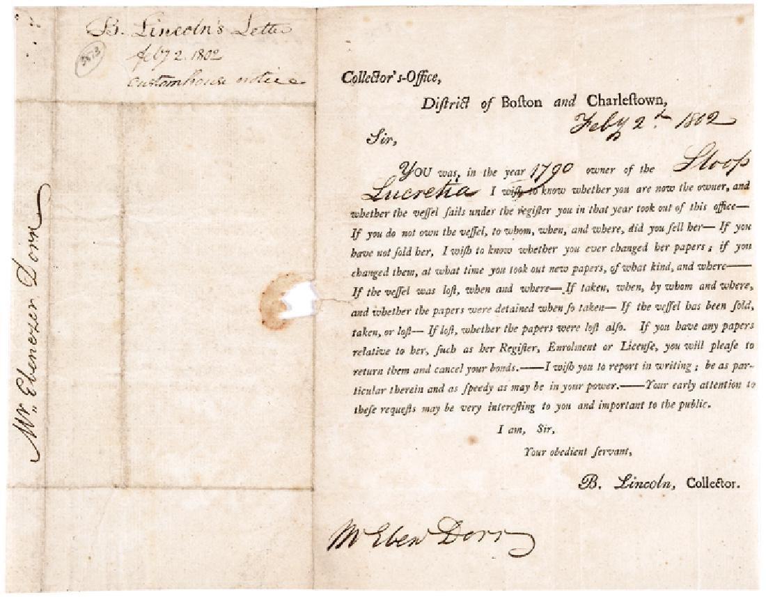1802 General BENJAMIN LINCOLN Customs Document