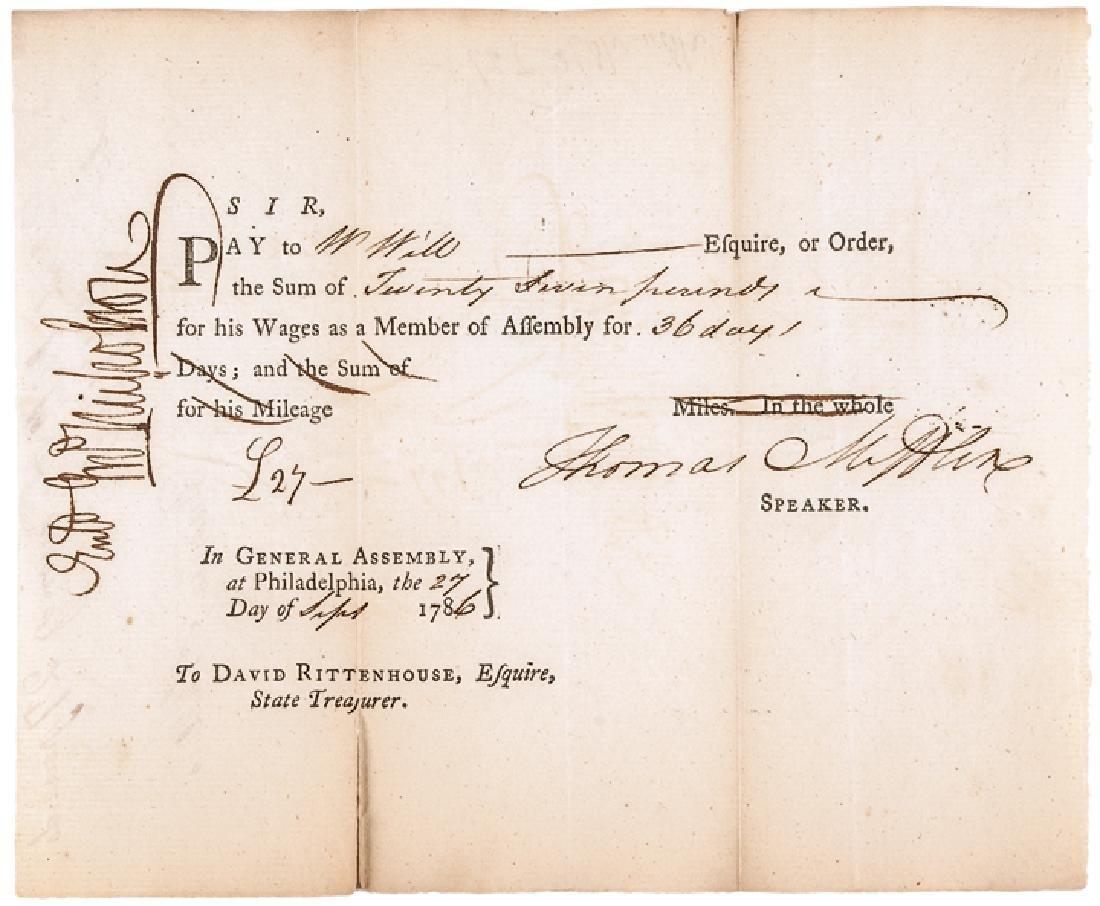 1786 Thomas Mifflin Signed PA. Treasury Document