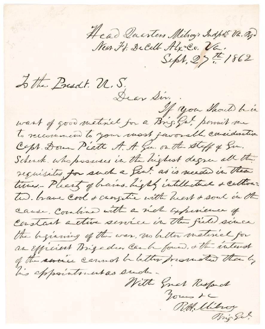 ROBERT HUSTON MILROY ALS to President Lincoln!