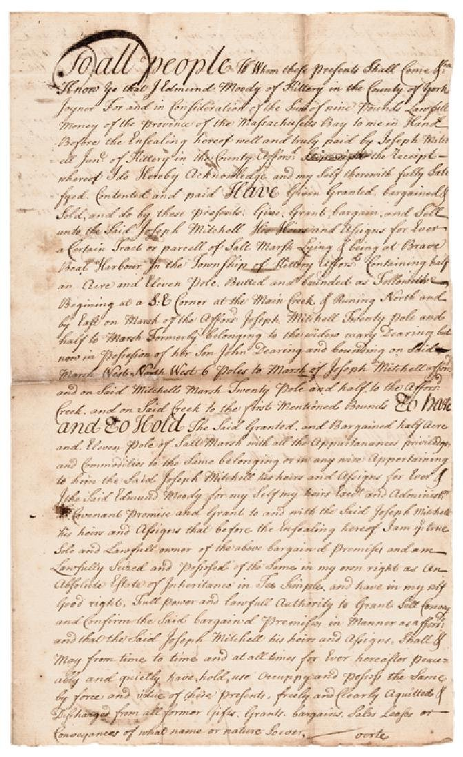 1737 SIR WILLIAM PEPPERRELL Signed Land Deed