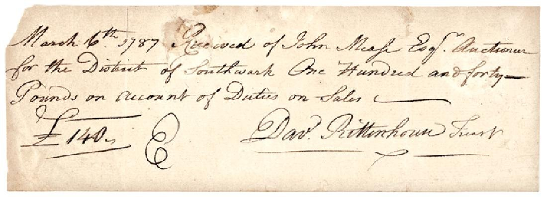 DAVID RITTENHOUSE Signed 1787 Autograph Document
