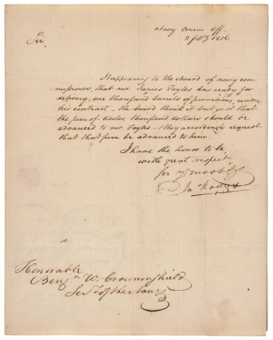 Navy COMMODORE JOHN ROGERS War of 1812 Era ALS