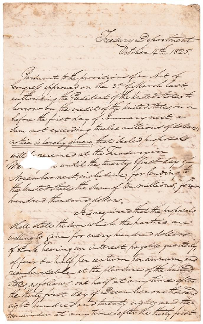 1825 RICHARD RUSH U.S. Treasury Letter Signed