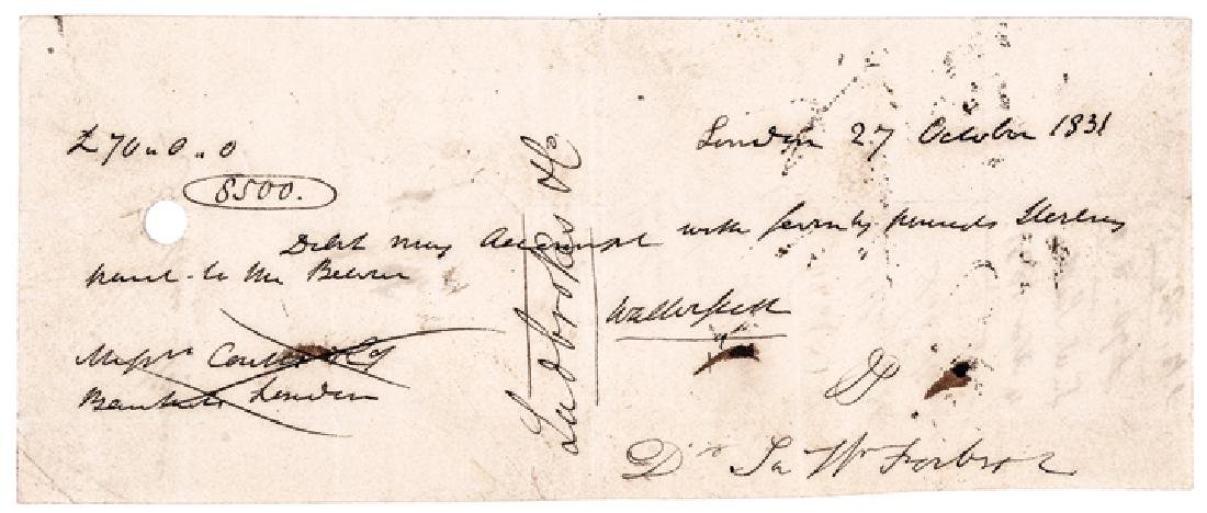 1831 Bank Check Signed Sir Walter Scott