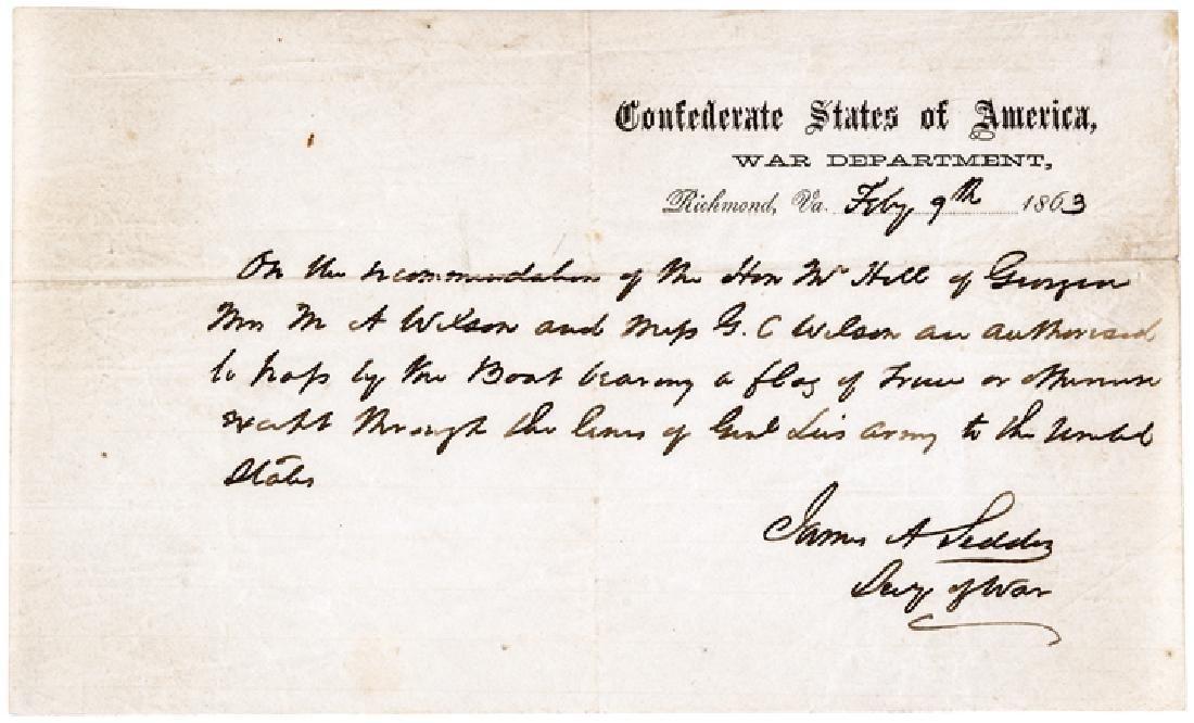 Confederate States Sec of War JAMES A SEDDON ALS