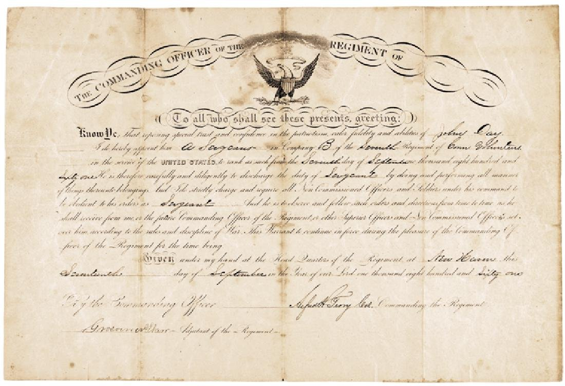 ALFRED HOWE TERRY 1861 Civil War Document Signed