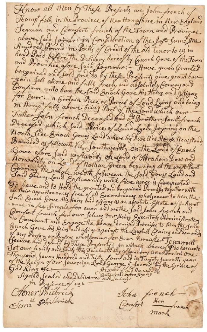 1754 MESHECH WEARE Signed NH Land Sale Document