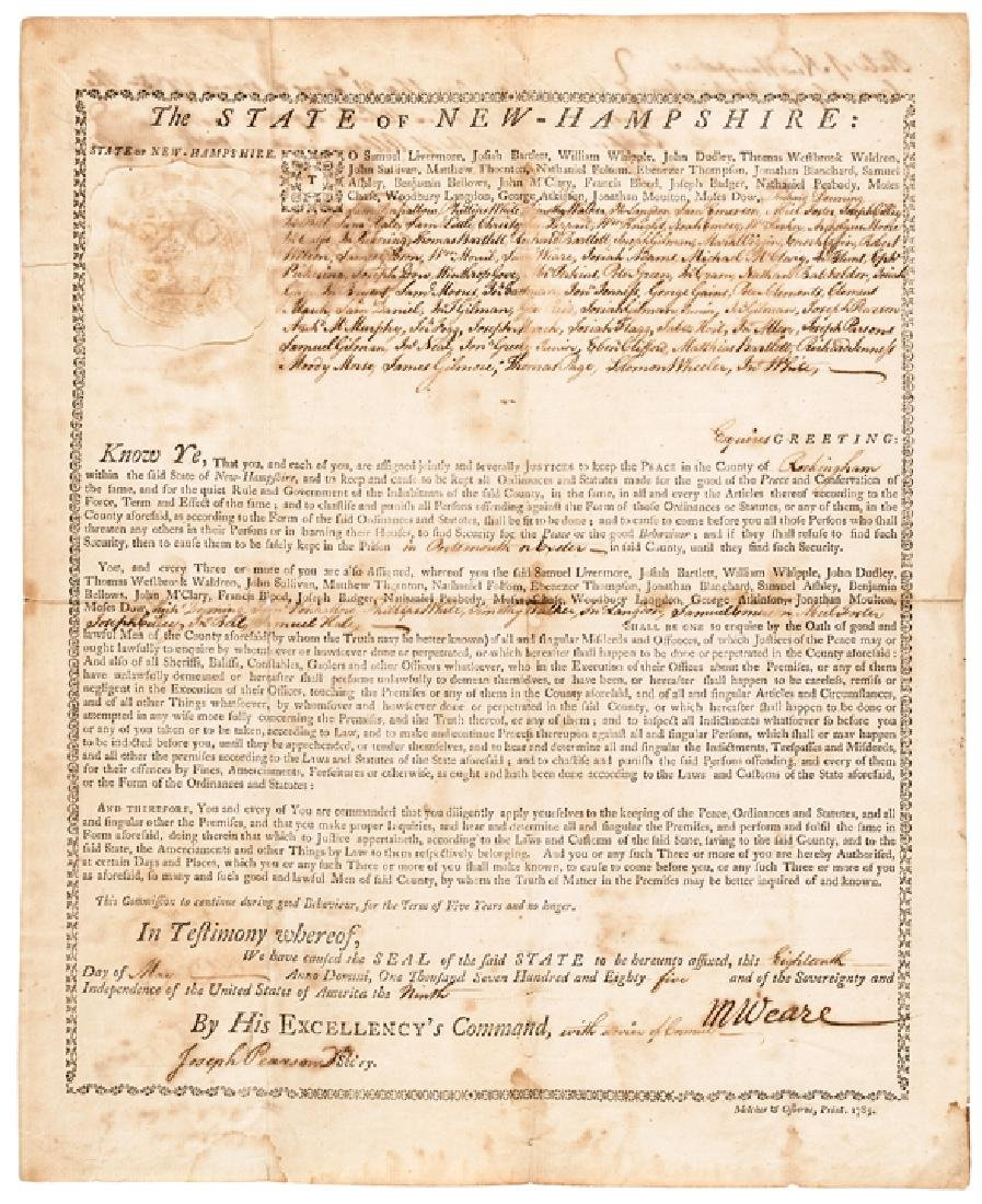 1785 NH. President MESHECH WEARE Signed Document