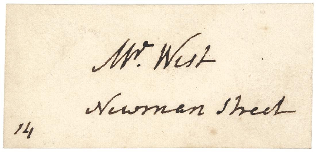 Painter BENJAMIN WEST's Signed Visiting Card