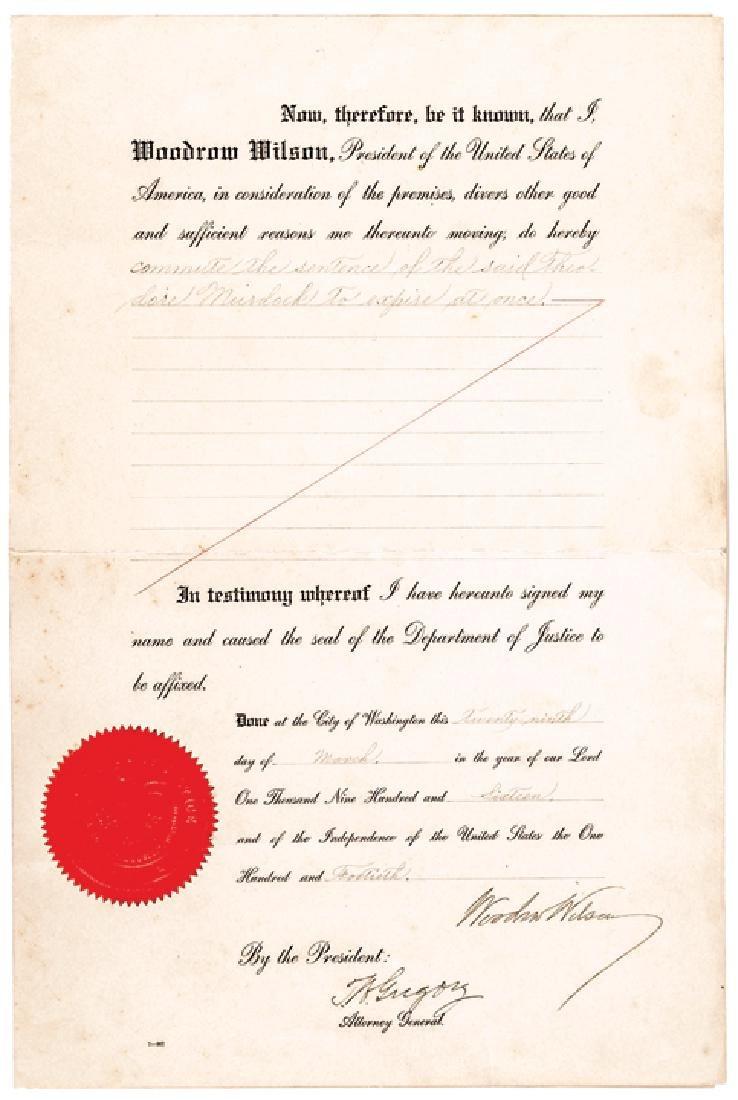President WOODROW WILSON Signed Commutation