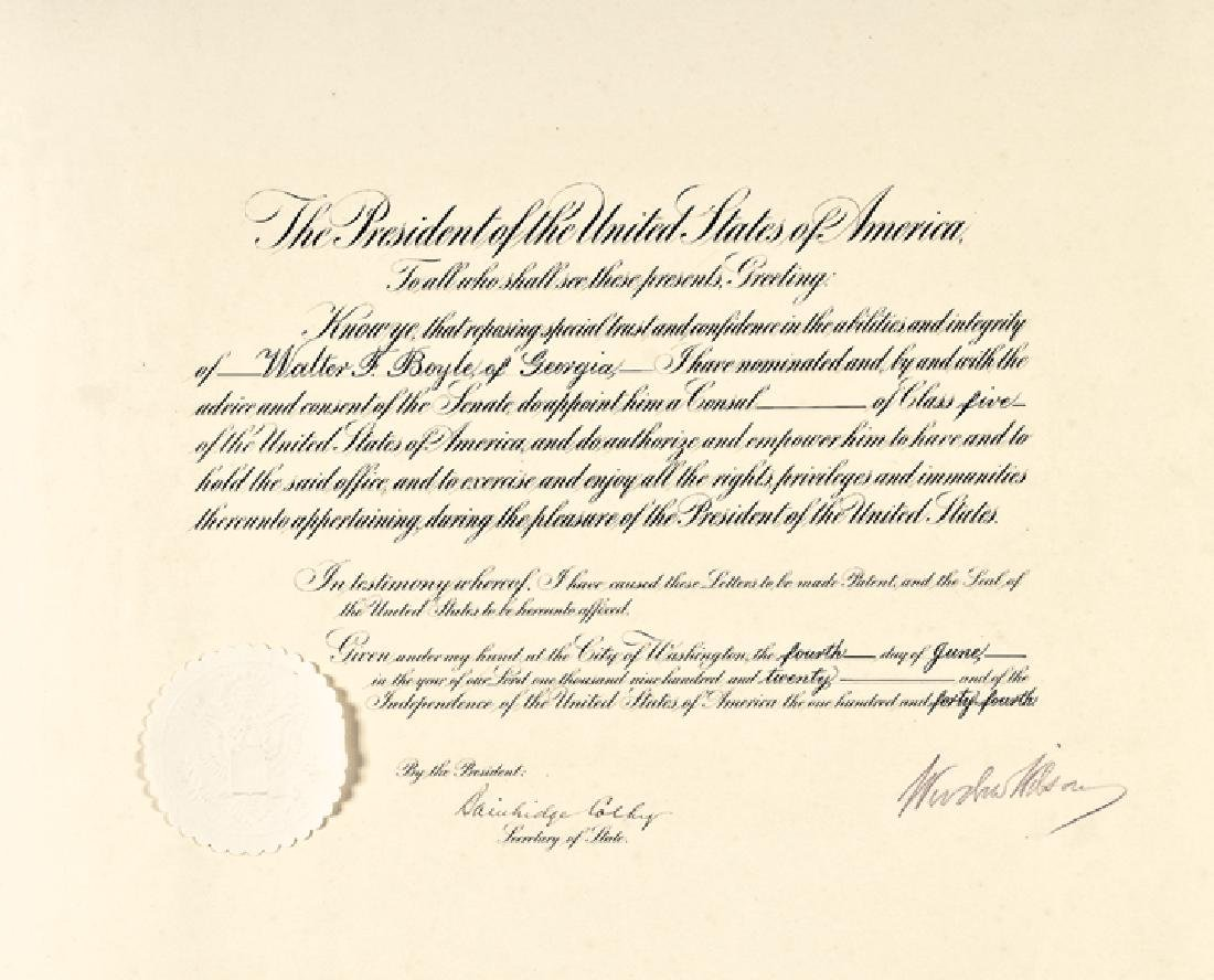 WOODROW WILSON Signed Presidential Appointment