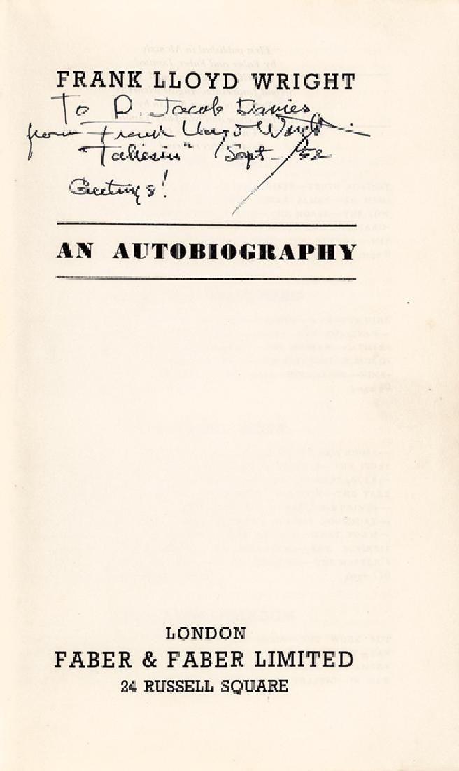 FRANK LLOYD WRIGHT Signed : An Autobiography