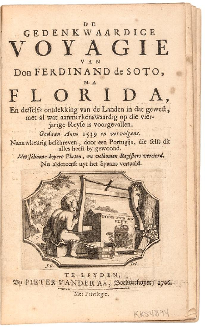 1706 FLORIDA Book with MAP On Ferdinand de Soto