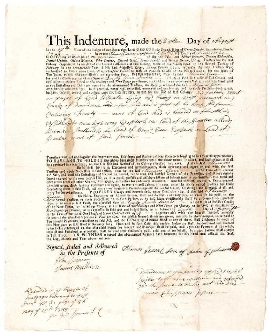 1744 Colonial Rhode Island LAND BANK Mortgage Bond