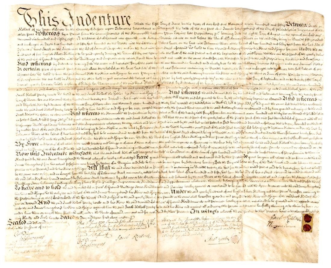 1750 PA. Land Indenture Traced from William Penn