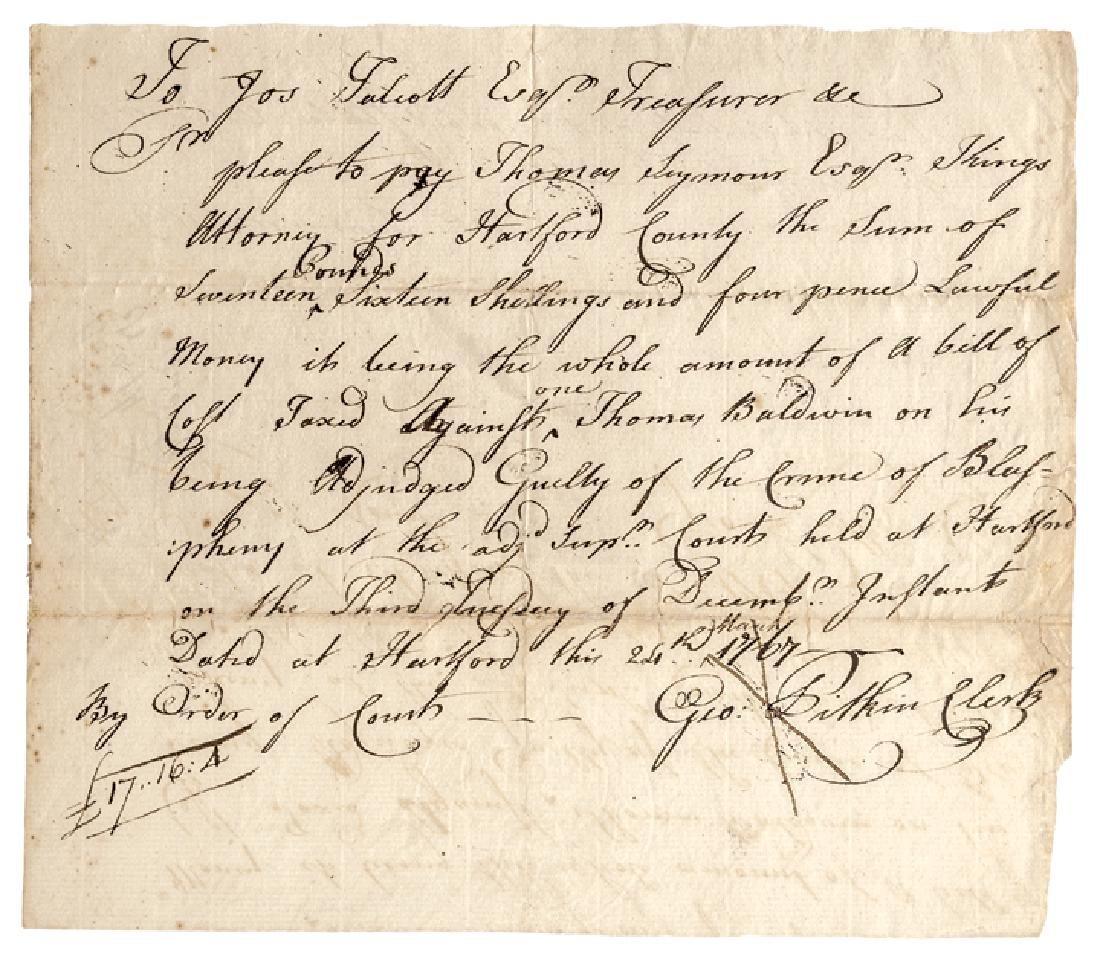 1767 Connecticut LAST CASE - CRIME of BLASPHEMY!