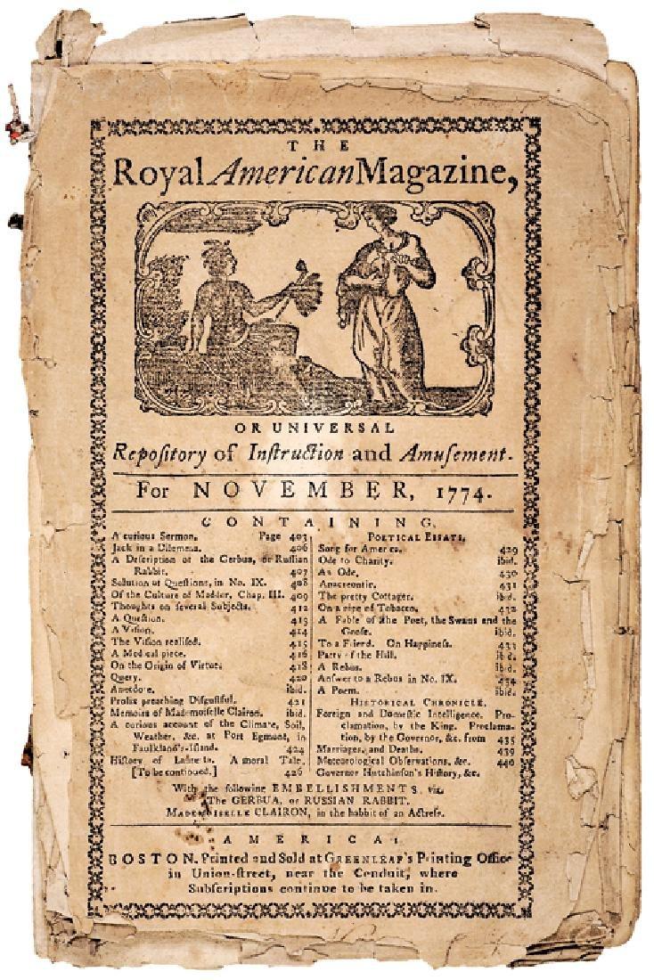 PAUL REVERE 1774 Royal American Magazine Masthead