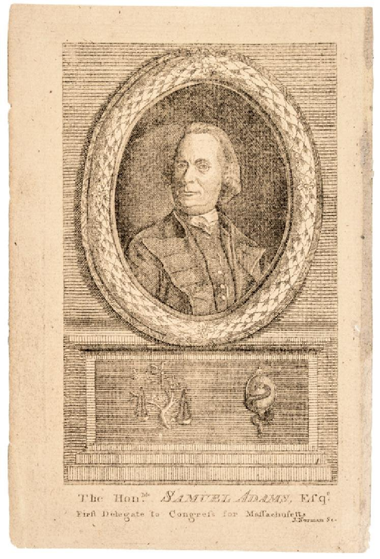 c. 1781 Print of SAMUEL ADAMS, First MA Delegate
