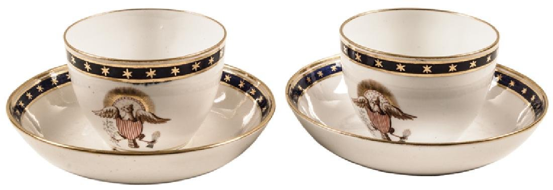 c 1840 Pair of American Eagle Tea Cups + Saucers