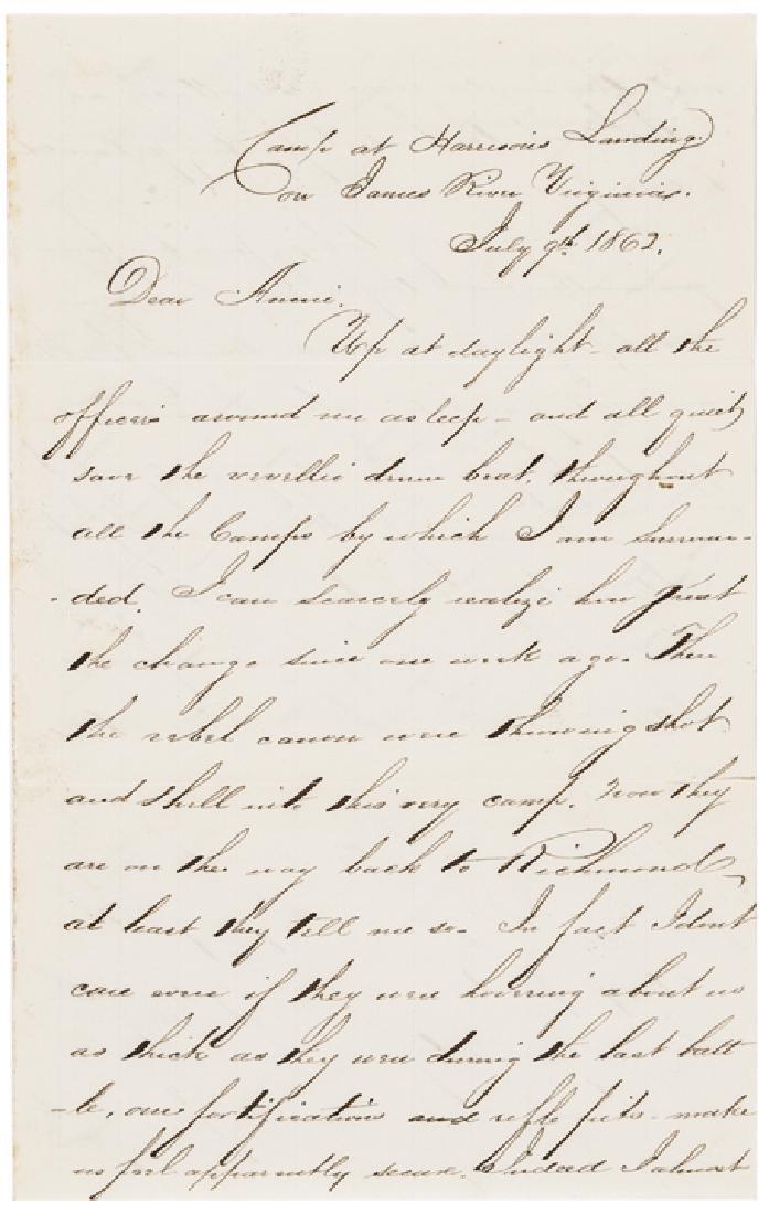 1862 Superb Letter Lincoln + Gen McClellan Visit