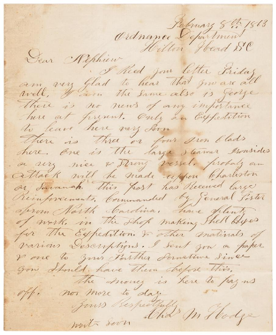 1863 Civil War Union Soldiers Letter Hilton Head