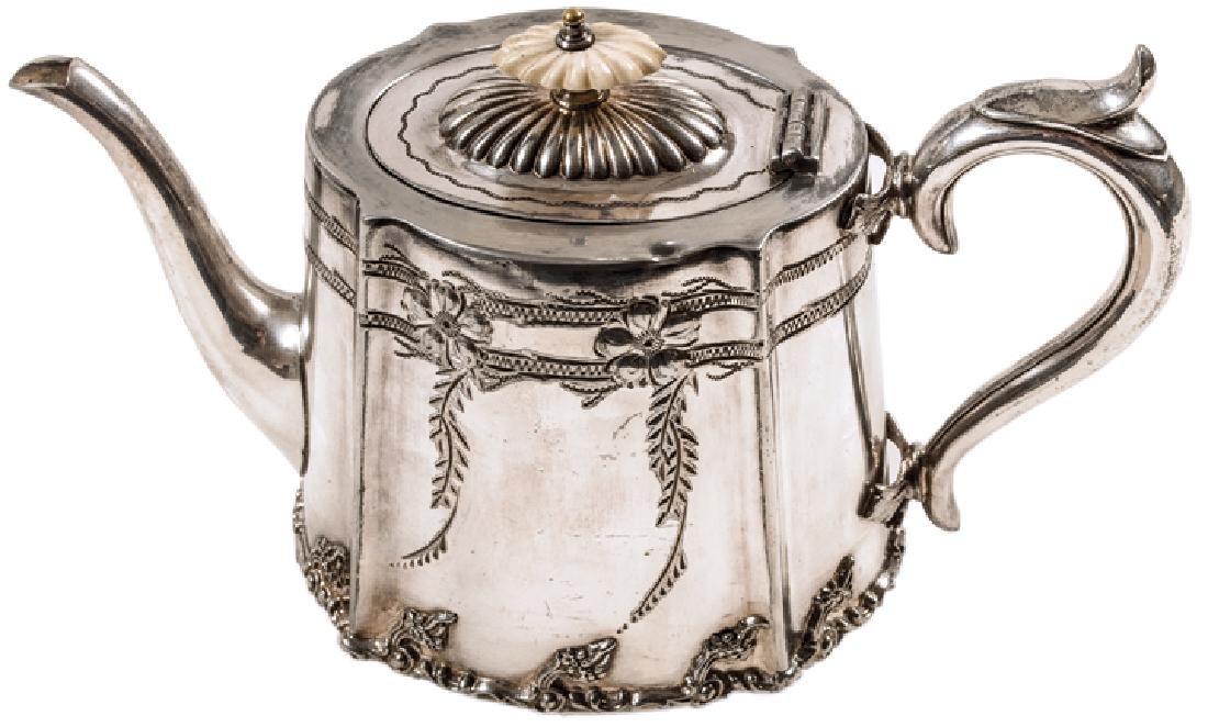 Ornate Decorative 19th Century Silvered Teapot