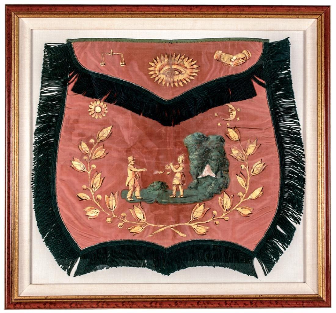 c 1840 Superb Masonic Apron Hand-Painted On Silk