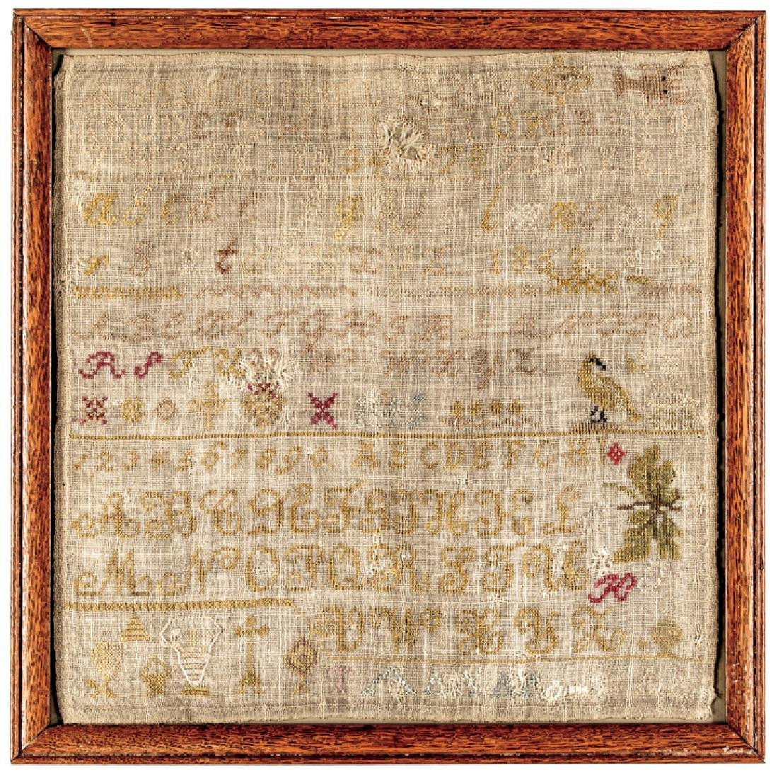 Early American Needlework Sampler- Rare LOBSTER!