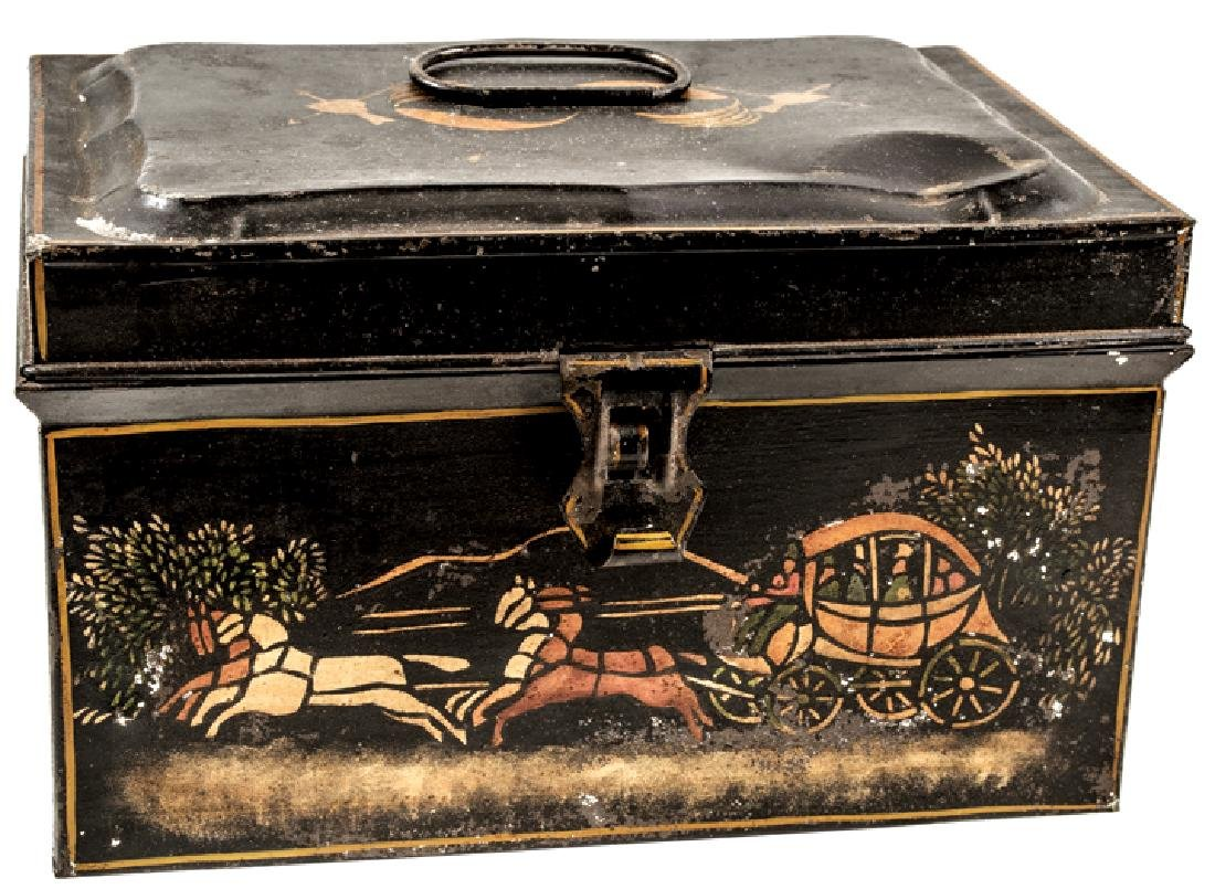 c 1860-80 American Hand-Painted Toleware Tin Box