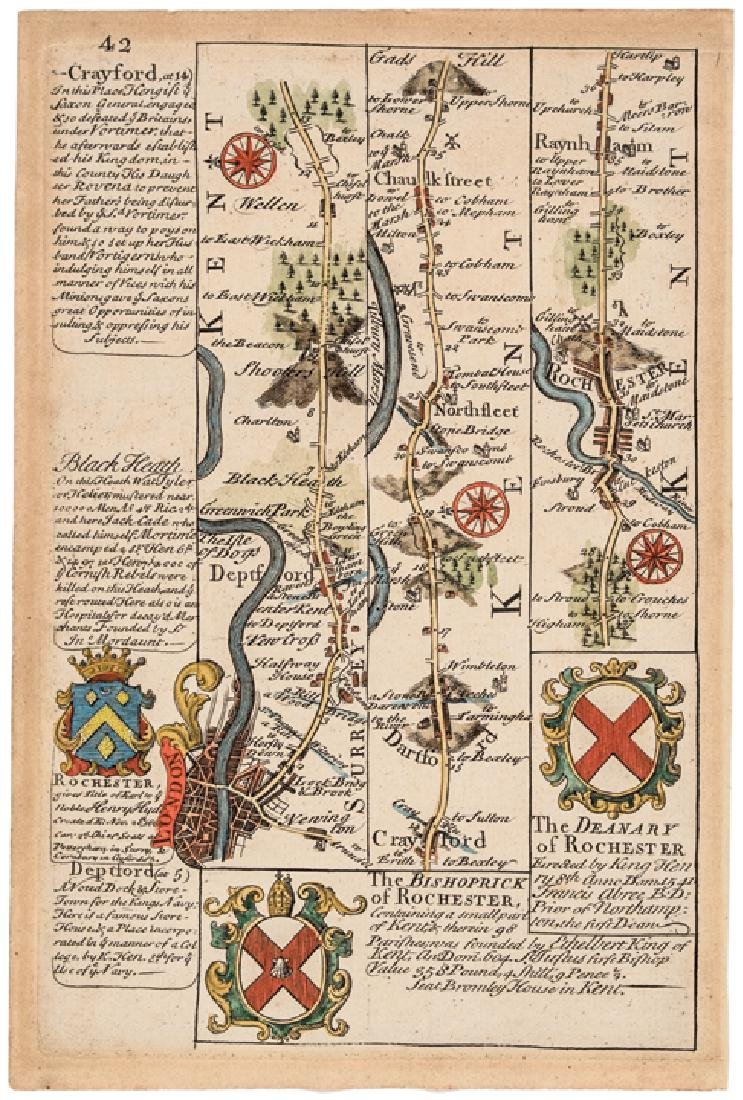 1736 Map - THE ROAD FROM LONDON TO DOVER IN KENT