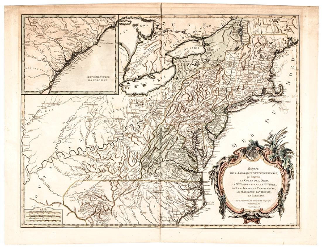 1755 Map of North America by De Vaugondy