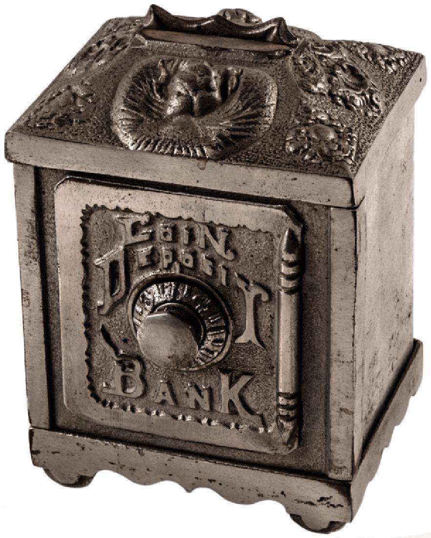 c. 1880 Nickel Cast Iron Safe Coin Deposit Bank