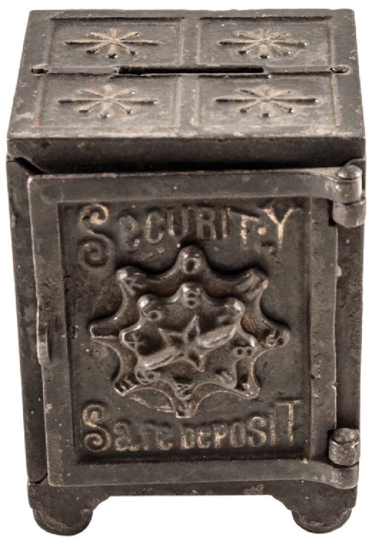 1877 Security Safe Deposit Cast Iron Coin Bank