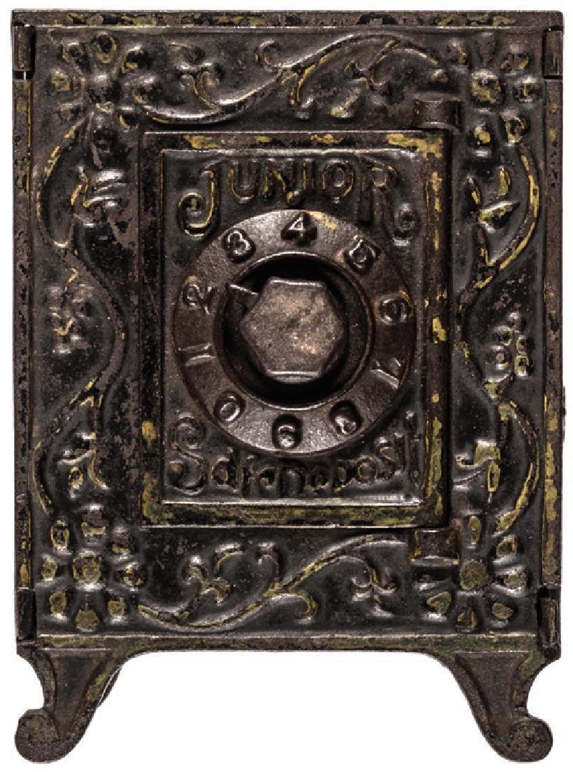 Junior Safe Deposit Coin Bank Tin and Cast Iron