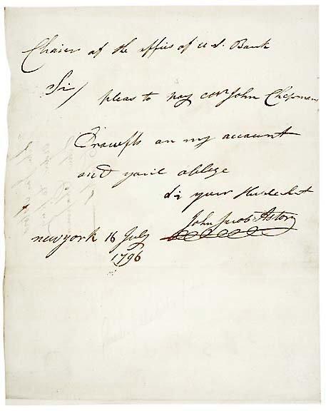 5: John Jacob Astor Signed Letter 1796