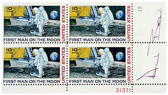 6: Astronaut Alan Bean Signed Postage Stamps