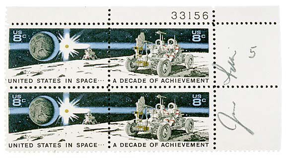12: Astronaut Jim Irwin Signed Stamps