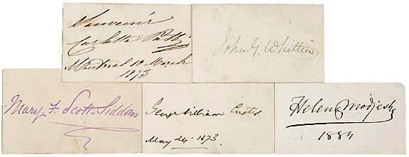 13: Five 19th Century Authors Autographs