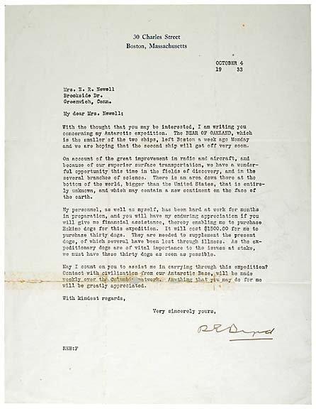 20: Richard E. Byrd Signed Letter, 1933