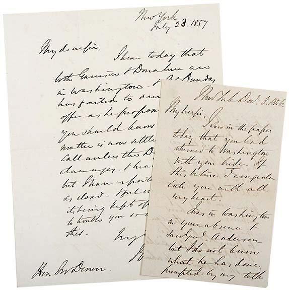 21: 2 Letters 1850s, Railroad,Steamships