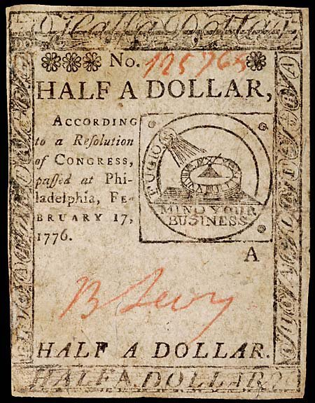 397: Benjamin Jacobs Signed Continental Currency,