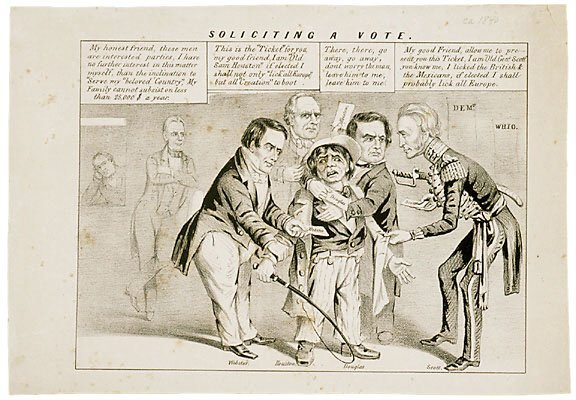 1041: c. 1840 Political Cartoon -SOLICITING A VOTE-