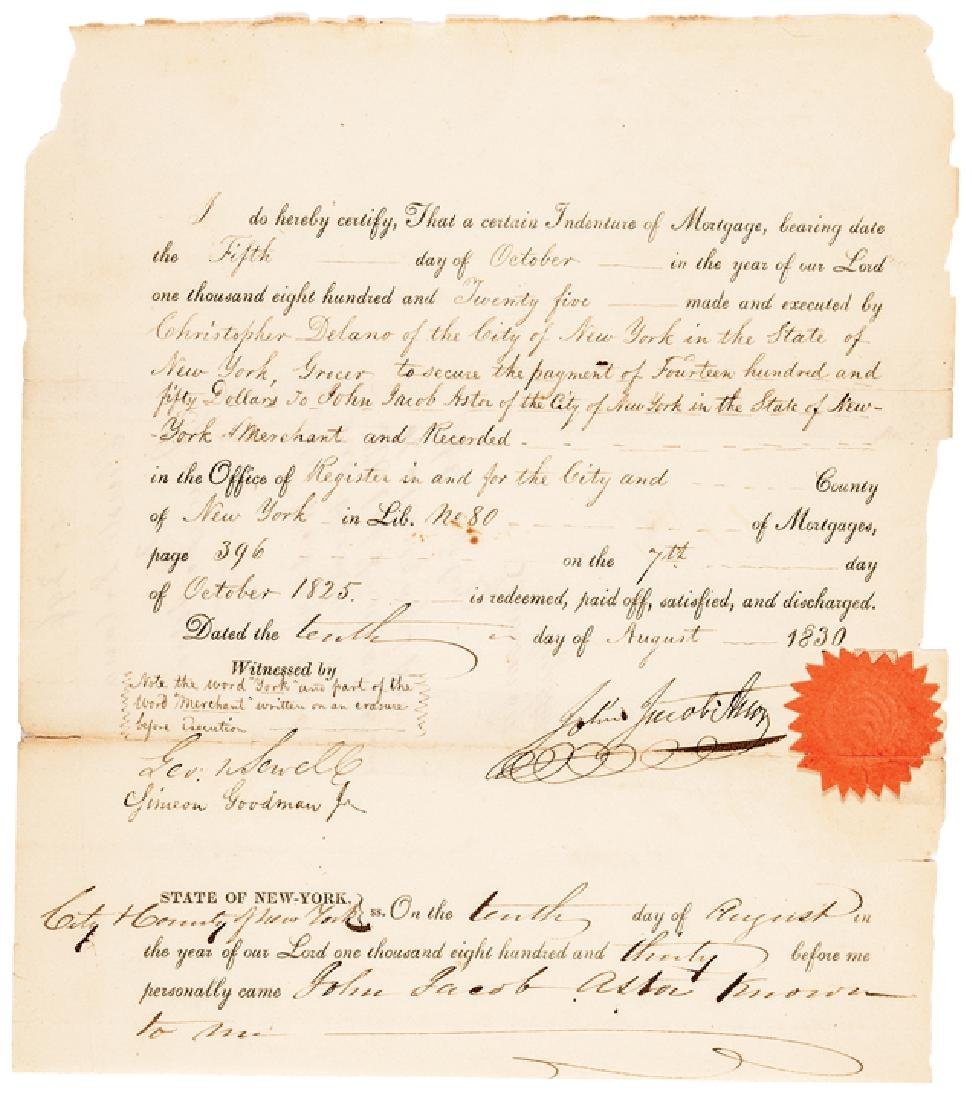 1830 JOHN JACOB ASTOR Signed NY Mortgage Receipt