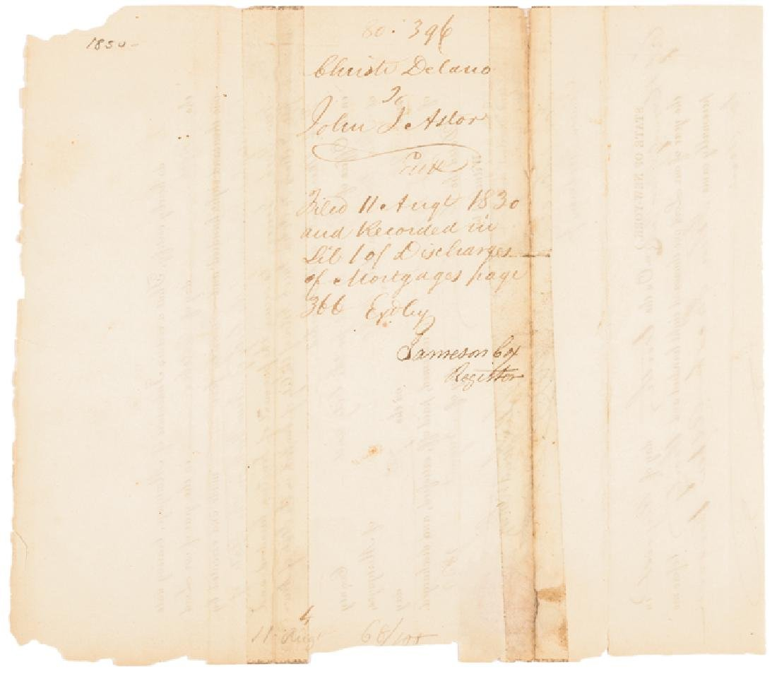 1830 JOHN JACOB ASTOR Signed NY Mortgage Receipt - 2