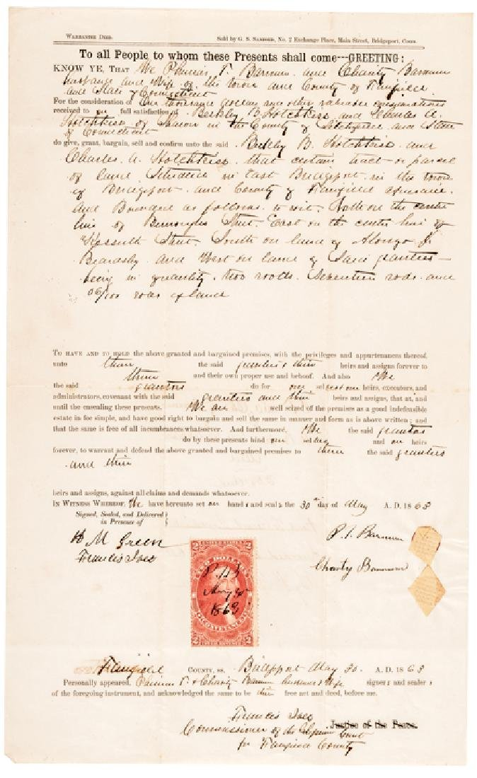 1863 PHINEAS T. BARNUM Signed Warrantee Deed